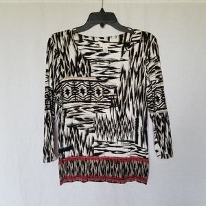 Chico's abstract print 3/4 sleeve top size 1